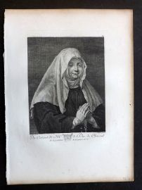 After Peter Paul Rubens C1820 Antique Print. Portrait of a Praying Nun